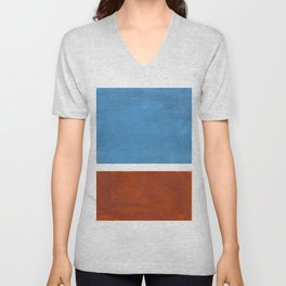 Antique Pastel Blue Brown Mid Century Modern Abstract Minimalist Rothko Color Field Squares Unisex V-Neck