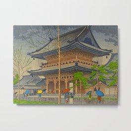 Rain in Higashi-Honganji Temple, Kyoto Asano Takeji Japanese Woodblock Print Metal Print
