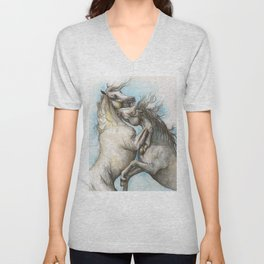 Fighting horses Unisex V-Neck
