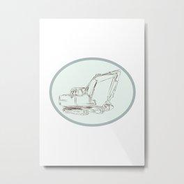 Mechanical Digger Excavator Oval Etching Metal Print