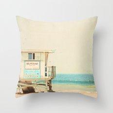 White Beach Throw Pillow