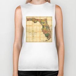 Map of the State of Florida (1856) Biker Tank