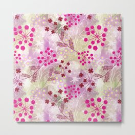 bright floral pattern ,watercolor background. Metal Print