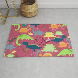 Dinosaur doodle dark pink background Rug