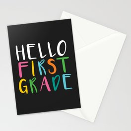 Back to School Hello First Grade Stationery Cards
