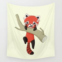 red panda Wall Tapestries featuring Red Panda by Freeminds
