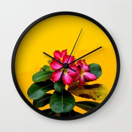 Red Flower with yellow background #society6 Wall Clock