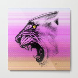 Lioness Color Pink Purple Metal Print