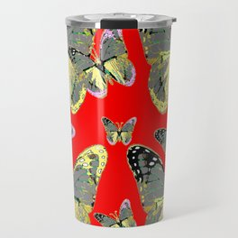 #2 CHARCOAL GREY WESTERN BUTTERFLIES ON RED Travel Mug