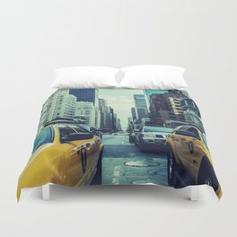 New York Yellow Cabs Duvet Cover