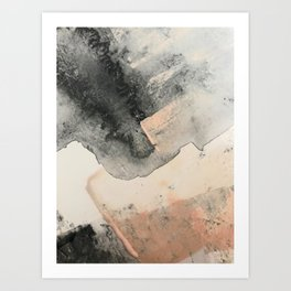 Peace and Quiet [2]: a pretty, minimal abstract piece in gray and peach by Alyssa Hamilton Art Art Print