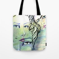 jane davenport Tote Bags featuring Fridalicious by Jane Davenport by Jane Davenport