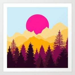 Pink sunset Art Print