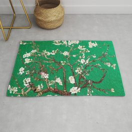 Vincent van Gogh Blossoming Almond Tree (Almond Blossoms) Emerald Sky Rug