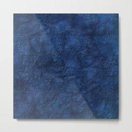 Navy Blue Solid Texture Metal Print