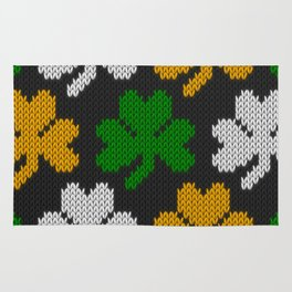 Shamrock pattern - black, orange, green, white Rug