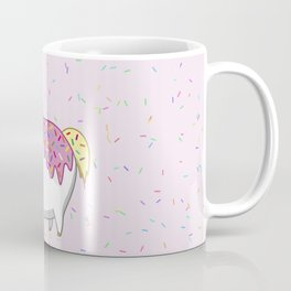 Cute Fat Unicorn Eating Pink Frosting Sprinkles Donut Coffee Mug