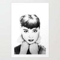 hepburn Art Prints featuring Hepburn by Aoife Rooney Art