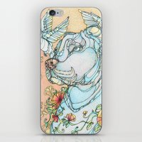 pitbull iPhone & iPod Skins featuring Peaceful Pitbull by Kate Fitzpatrick