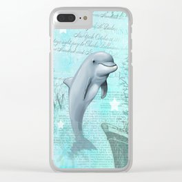 Happy Dolphin Clear iPhone Case