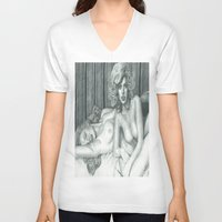lindsay lohan V-neck T-shirts featuring Lindsay Lohan and Marilyn Monroe's PLAYBOY together by Jimmy Lee