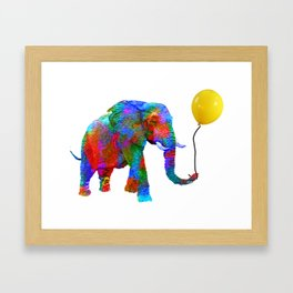 Crayon Colored Elephant with Yellow Balloon Framed Art Print