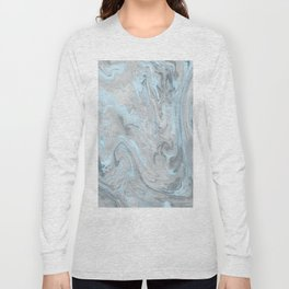 Ice Blue and Gray Marble Long Sleeve T-shirt