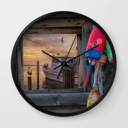 Fishing Boat and Gulls with Fishing Buoys at Sunrise Wall Clock
