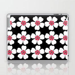 Japanese Sakura Floral Pattern - Black Laptop & iPad Skin