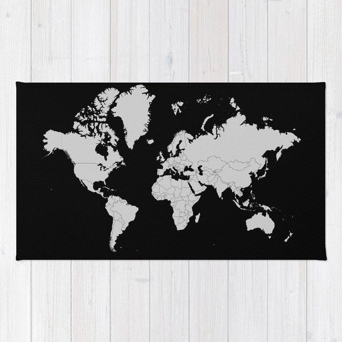 Minimalist world map gray on black background rug by constantchaos minimalist world map gray on black background rug gumiabroncs Gallery