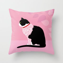 Typographic black and white lazy kitty cat on pink  #typography #catlover Throw Pillow