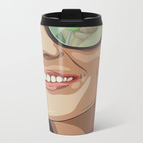 Girl with glasses Metal Travel Mug
