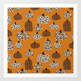 Leopard print pumpkins pattern - leopard pumpkins, halloween, fall, decor, fashion Art Print