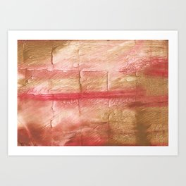 Red Pink stained watercolor texture Art Print