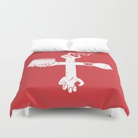 wallet Duvet Covers featuring Sign of the Cross by Pencil Bandit