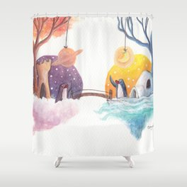 Penguins and their Bridge Between Sky Castle and Igloo with Ocean Shower Curtain
