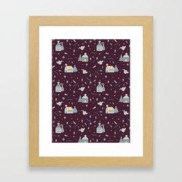 Christmas Village Houses Vector Pattern Framed Art Print