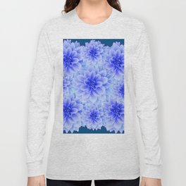 BLUE-WHITE DAHLIA FLOWERS IN  TEAL COLOR Long Sleeve T-shirt