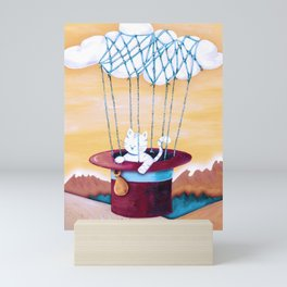 The cat traveling in dreams Mini Art Print