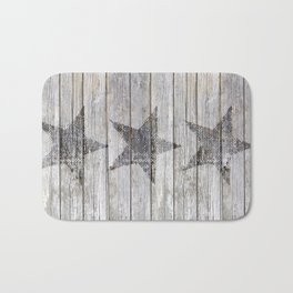 Grunge Star on old weathered grey wood Bath Mat