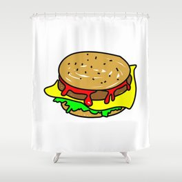 Cheeseburger Doodle Shower Curtain