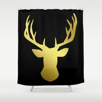 golden Shower Curtains featuring Golden by Laura Maria Designs