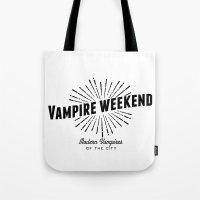 vampire weekend Tote Bags featuring Vampire Weekend // Modern Vampires of the City by alquimie