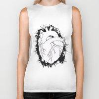anatomical heart Biker Tanks featuring Anatomical Heart by JodiYoung
