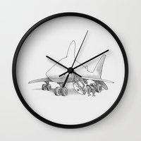 pilot Wall Clocks featuring Pilot Fish by Eric Fan