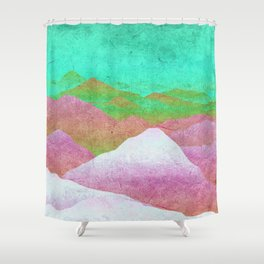Through hilly lands and hollow lands - turqouise-violet-white option Shower Curtain