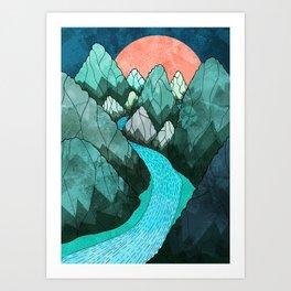The green forest hills Art Print
