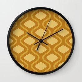 Moroccan Mid Century Lattice Pattern // Raw Sienna, Gold, Bronze Wall Clock