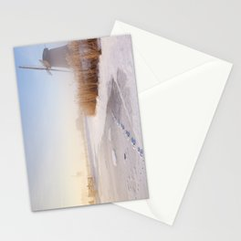 Dutch windmills in a foggy winter landscape in the morning Stationery Cards