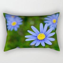Blue Flower, Yellow Heart Rectangular Pillow